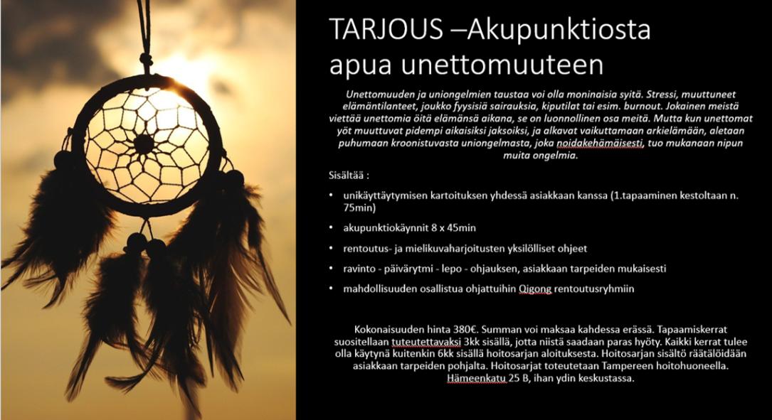 akupunktiosta apua unettomuuteen_mainos